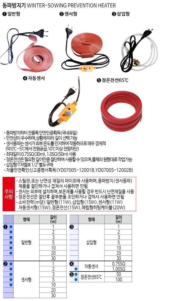동파방지기 (센서형) 10M  우주전열 제조업체의 겨울철 동파방지용 히터 가격비교 및 판매정보 소개